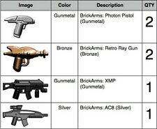 BrickArms Custom 6 Weapon Pack For Star Wars Space 2 Pistol, 2 Ray Gun, XMP, AC8