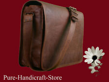 Goat Leather Travel Handmade school office Laptop Messenger Bag New 20 inch