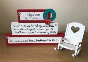Christmas In Heaven Wooden Blocks Rocking Chair Stacking Blocks Keepsake