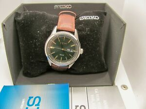 Seiko SNE529 Mens Solar-Powered Green Dial Stainless Steel Brown Leather Watch