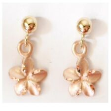 Earring 1/4 inches (6 mm) E2531-90 14K Solid Rose Gold Plumeria Dangle