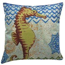 Cotton Linen Canvas Decorative Throw Pillow16x16 inch SEA HORSE (Multicolor)
