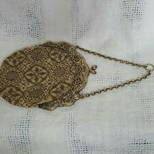Vintage beaded purse marked sterling  222