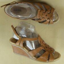 "Earth Jasmine US 8 B Women Wedge 3"" Sandal Slingback Peeptoe Brown Leather"