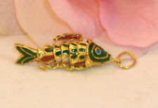 Vintage Cloisonne Enamel Articulated Fish Pendant Green & Gold Tone Koi lot #4
