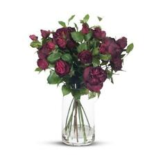 Floral Arrangement English Rose Mix in TALL Vase - Dark Red