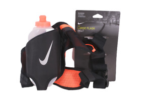 New NIKE Large Flask Hydration Running Belt 20 oz Water Bottle Black Orange