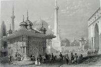 Istanbul SAINT HAGIA SOPHIA Ayasofya MOSQUE FOUNTAIN ~ 1839 Art Print Engraving