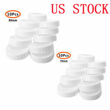 10 Plastic Unlined Ribbed Lids Storage Caps for Wide/Regular Mouth Mason Jar Pot