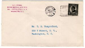 #612 Harding First Day Cover 1923 -  Colman to Hungerford Washington DC