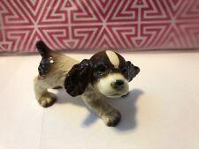 GOEBEL Cocker Spaniel Puppy Dog Figurine 30105 White Brown Black W Germany Cute