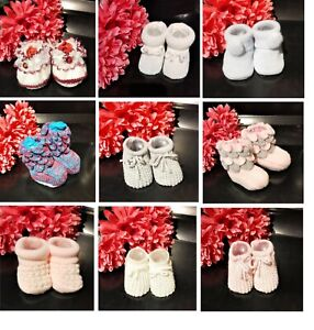 BABY KNITTED BOOTIES,  UPTO 6 MONTHS, VARIOUS COLOURS & DESIGNS