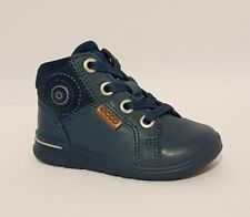 ECCO BLUE GENUINE LEATHER MID CUT ZIP BOOTS BABY BOYS INFANT SIZE 3 EU 19 RRP£49