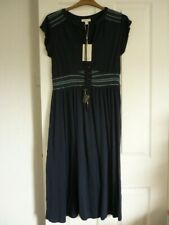 MONSOON SOPHIE EMBROIDERED NAVY JERSEY MIDI DRESS UK 14, EUR 42, US 10. BNWT £59