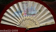 Fan Evental Important Sticks And Silk Hand Painted Hand Fan, Xix th