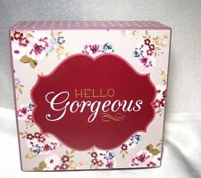 "SHELF TABLE DESK WOOD BLOCK SIGN PLAQUE--SHABBY CHIC-HELLO GORGEOUS 5"" x 5"""