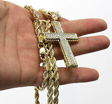 "Cross Hip-Hop Pendant"" Rope Chain Mens 14k Gold Plated Jagged Edge"