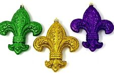 "Mardi Gras Set of 3 Ornaments Fleur de Lis Glitter Gold Green Purple 4.5"" x 5.5"""
