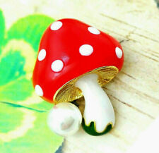 Pearl Red Enamel Brooch Red Delightful Magic Mushroom Polka Dot Gold