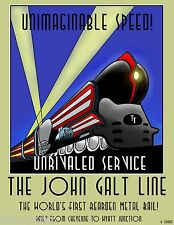 ART DECO JOHN GALT LINE RAILWAYS TRAIN POSTER A1 SIZE PRINT canvas