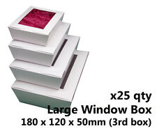 x25 LARGE WHITE WINDOW LID BOXES - for macarons, cookies, food, gift packaging