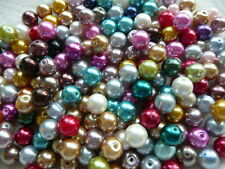 100 8mm Mixed Job Lots Glass Pearl Beads + 100 6mm Pearl Beads Jewellery Making