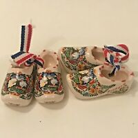 "2 Pairs 2"" Miniature Dutch Holland Shoes Clogs Ceramic Colorful Delftblue  M S"