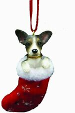 """Rat Terrier Christmas Stocking Ornament with """"Santa's Little Pals"""" Hand Painted"""