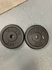 2 X 5KG YORK Weight Plate Cast Iron , York Two Mouth Old