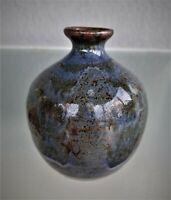 Mid Century Studio Art Pottery Vase Cobalt Blue Artist Signed Stoneware Squat