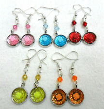 Hook Acrylic Mixed Metals Costume Earrings