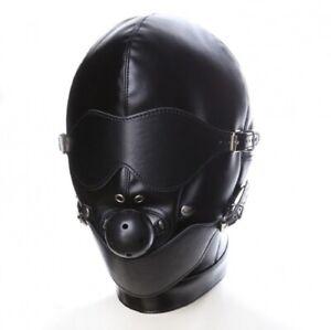 Bondagemaske mit Ballknebel🔥Ledermaske Kopfmaske Bondage BDSM Augenbinde🔥