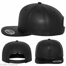 NEW LEATHER SNAPBACK CAP *BLACK* BASEBALL ERA PLAIN FITTED FLAT PEAK HAT