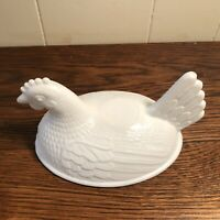 """Vintage Indiana Milk Glass Sitting Hen Candy Dish **LID ONLY** 4.5"""" x 6"""" (B)"""
