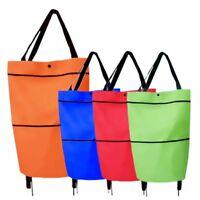 Folding Shopping Trolley Foodstuff Shopper Cart Bag Light Weight Foldable Wheels