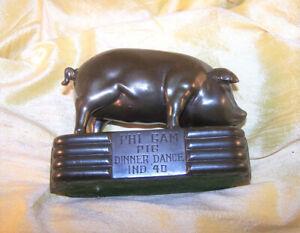 VINTAGE Phi Gamma Delta fraternity Pig Dinner Dance trophy / paperweight 1940