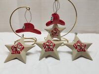 Vintage Tin Fire Department Hand Painted Star Fireman Hat Christmas Ornaments