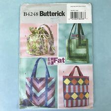 Uncut Fat Quarter Bags Butterick 4248 Tote Handles Crafts Scrap Fabric Hobby