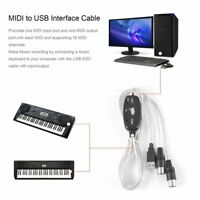 MIDI to USB Interface Cable Adapter for Converter PC to Music Keyboard Cord