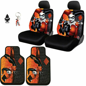 NEW HARLEY QUINN AUTO CAR SEAT COVERS FLOOR MAT KEYCHAIN COVER SET FOR VW