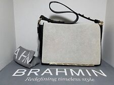 Brahmin NWT Hudson Shoulder Black Deco Leather Handbag