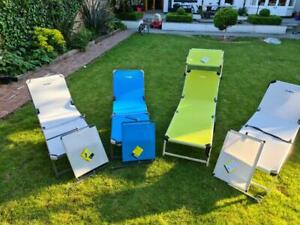 Set of 2 Brunner Marbella Folding sunbed sun lounger reclining chairs aluminium
