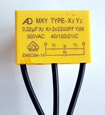 AD Safety capacitor X2 Y2 300vAC (0.22uF group1)+ 2x (2200pF group 2)MXY–ref:792