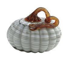 """New 5"""" Hand Blown Art Glass Pumpkin Sculpture Figurine Fall Harvest White Grey"""