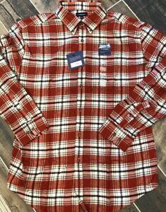 NWT Saddlebred Flannel Orange White Gray Plaid Shirt Large Long Sleeve Cotton