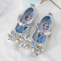 Kids Girls Froze2 Princess Elsa Fancy Up Party Sequin Glitter Bowknot Elsa Shoes