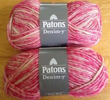 Patons Denim-Y Yarn  Lot of 2  HOT PINK DENIM  Cotton/Wool/Acrylic Blend