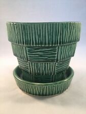 "VINTAGE McCOY 4"" MEDIUM GREEN BASKETWEAVE FLOWER POT PLANTER - MID CENTUREY"
