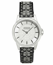 "BRAND NEW COACH 14501524 CLASSIC SIGNATURE ""C"" STRAP SILVER CASE WOMEN'S WATCH"