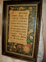 19th C. VICTORIAN LORDS PRAYER PRINT LARGE CHURCH WOOD BACK CHIPPY FRAME ANTIQUE